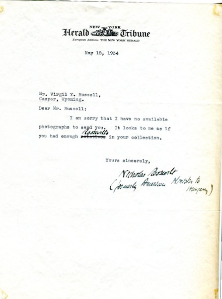 Typed Letter, Signed, With A Holograph Addition. Nicholas Roosevelt.