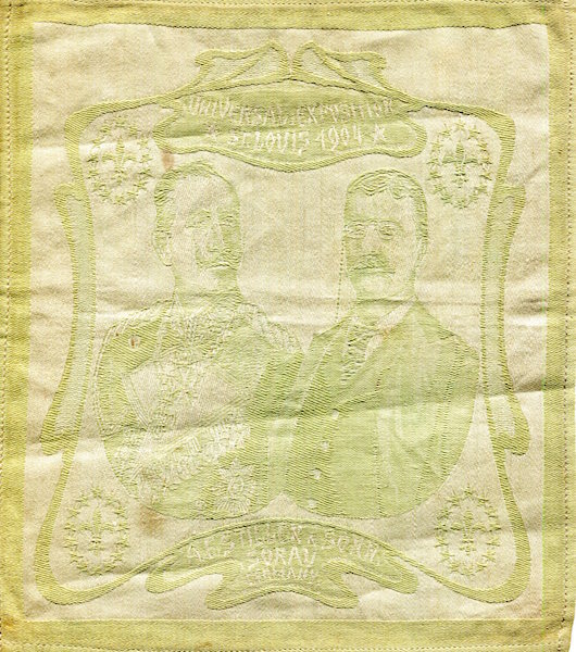 Theodore Roosevelt Commemorative Textile; Louisiana Purchase Exposition, St. Louis, 1904. Theodore Roosevelt.
