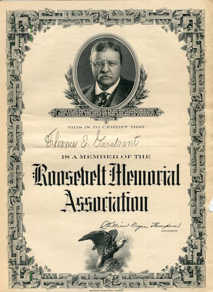 Theodore Roosevelt Memorial Association Membership Certificate. Theodore Roosevelt Memorial Association.
