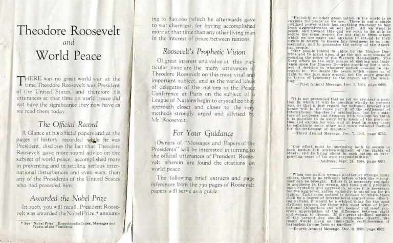 (Prospectus) Theodore Roosevelt And World Peace; Advertising Prospectus For Messages And Ppaers Of The Presidents. Theodore Roosevelt.