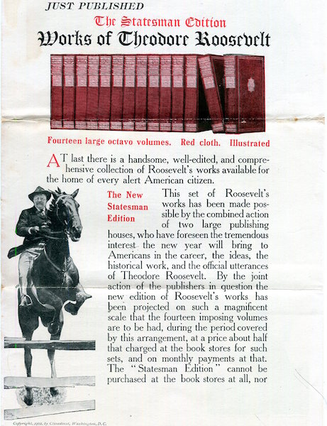 (Prospectus) The Works Of Theodore Roosevelt; The Statesman's Edition. Theodore Roosevelt, Review Of Reviews.