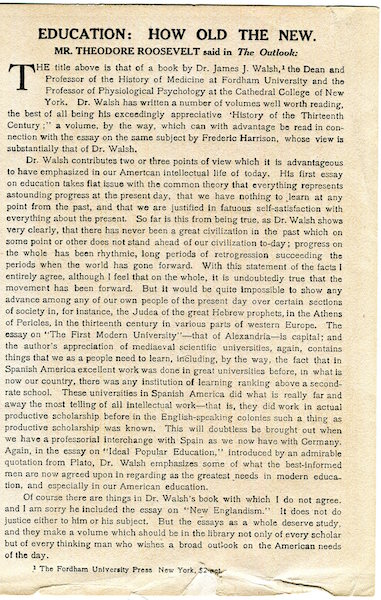 (Publishing Broadside) Education; How Old The New. Mr Theodore Roosevelt Said In The Outlook. Publishing Broadside, Theodore Roosevelt.