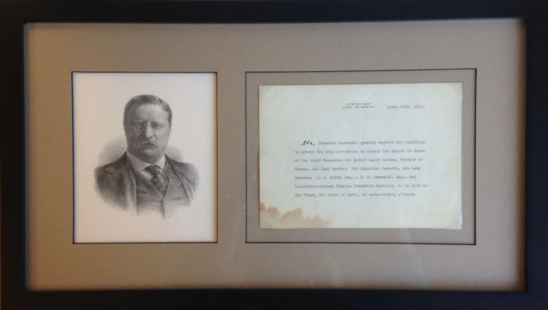 A Typed Letter, Unsigned, with a Holograph Addition. Theodore Roosevelt.