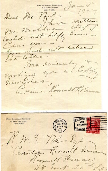 Autographed Letter Signed. Corinne Roosevelt Robinson, Sister of Theodore Roosevelt.