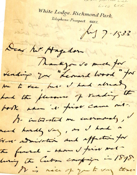 An Autographed Letter, Signed. Arthur Hamilton Lee, Lord Lee.