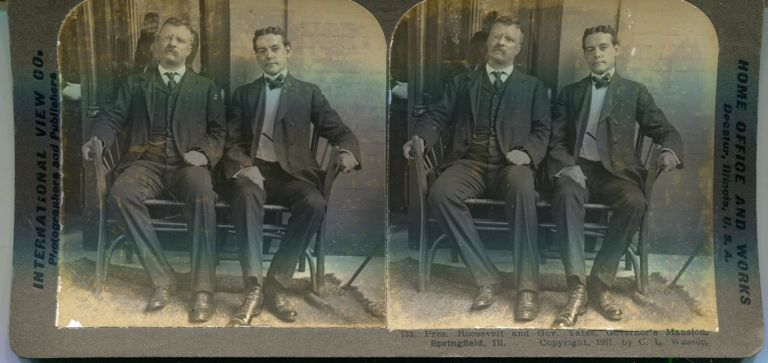 Stereo View Of Theodore Roosevelt & Gov. Yates, Governor's Mansion, Springfield Ill. Theodore Roosevelt.