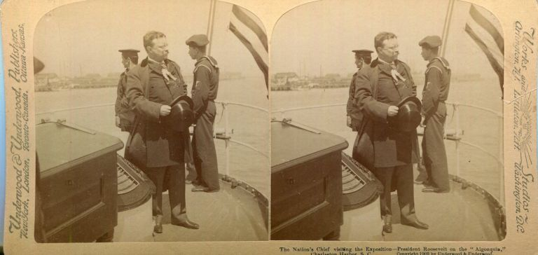 """Stereo View Of The Nation's Chief Visiting The Exposition - President Roosevelt On The """"Algonquin"""", Charlestown Harbor S.C. Theodore Roosevelt."""