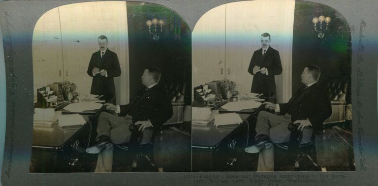 Stereo View Of President Roosevelt Dictating Instructions To His Secretary William Loeb, White House, Washington D.C. Theodore Roosevelt.