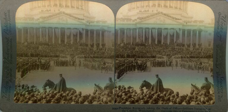 Stereo View Of President Roosevelt Taking The Oath Of Office - Brilliant Inaugural At The Capitol, Washington D.C. Theodore Roosevelt.