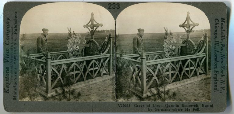 Stereo View Grave Of Lt. Quentin Roosevelt Buried By Germans Where He Fell. Theodore Roosevelt.