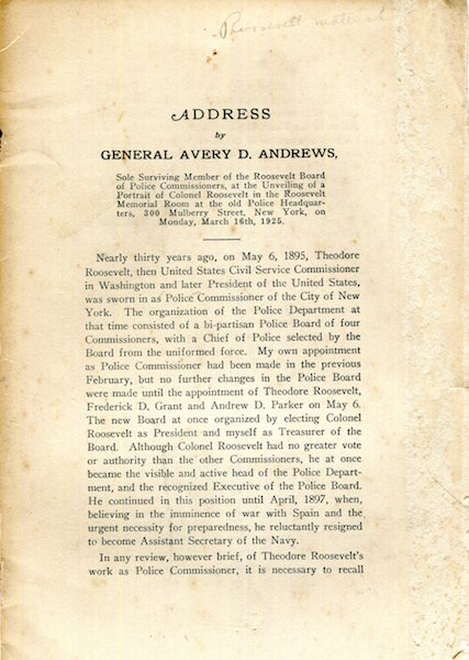An Address. General Avery D. Andrews.