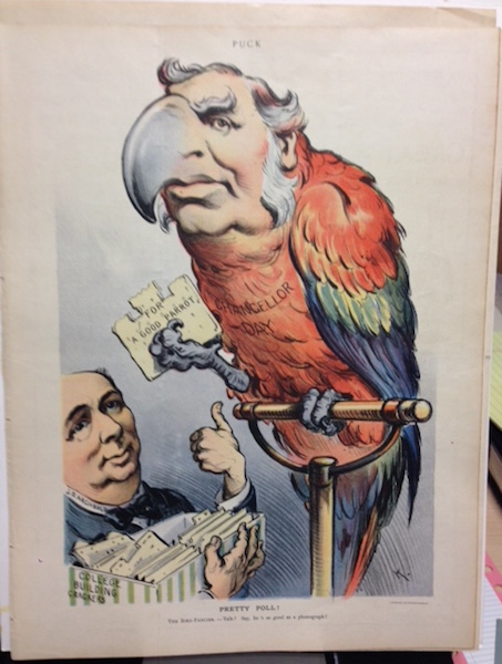 """""""Pretty Poll!, The Bird Fancier - Talk? Say, he's as good as a phonograph"""". July 4, 1906. Puck Magazine."""