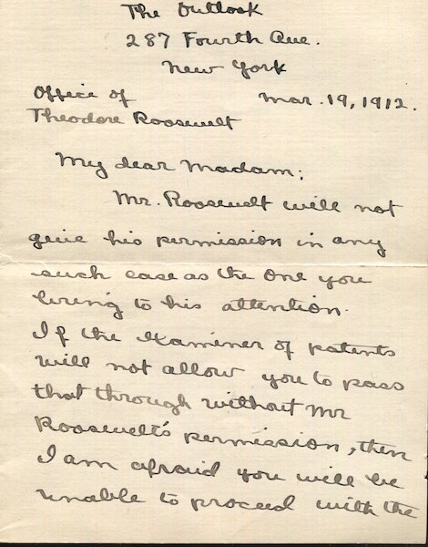 Autographed Letter, Signed. Theodore Roosevelt, in the person of Frank Harper.