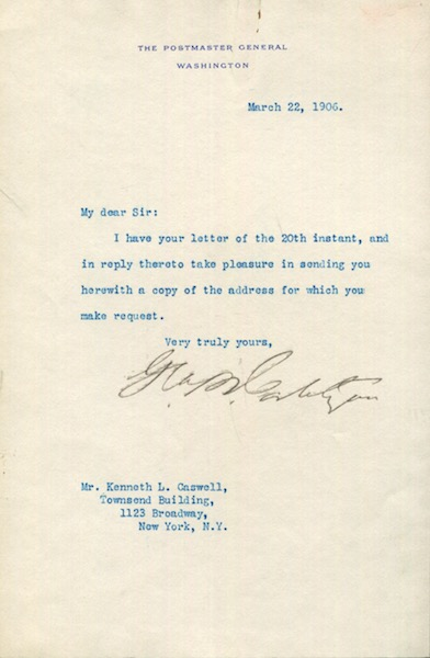 "George B. Cortelyou as the Postmaster General, Typed Letter, Signed, (Tls) one page, (Approx. 8.5"" x 5.5"") on U. S. Postmaster General's stationery to Kenneth Caswell of New York, N. Y., March 22, 1906. George B. Cortelyou."