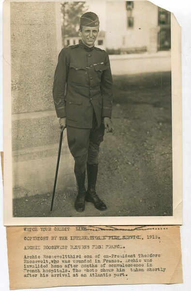 Original Wire Service News Photograph, Archibald Roosevelt, Returns From France, 1918. Archibald Roosevelt, Archie.