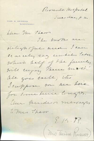 Autographed Letter, Signed. Edith Kermit Roosevelt.