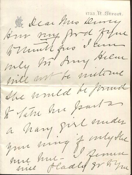 Autographed Letter, Signed, To Mrs. George Dewey. Anna Roosevelt Cowles, e, Bamie.