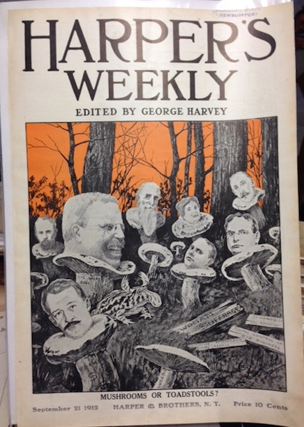 """Harper's Weekly Magazine Cover """" Mushrooms Or Toadstools?"""". September 21, 1912. Theodore Roosevelt."""