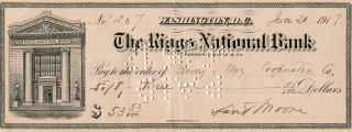 Autographed Check By The Man Who Blinded Theodore Roosevelt. Theodore Roosevelt, Daniel Tyler Moore
