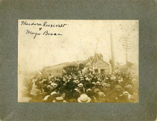 Mounted Photograph; Theodore Roosevelt campaigning In Perth Amboy N. J. c1904. Theodore Roosevelt