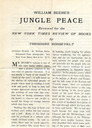William Beebe's Jungle Peace Reviewed for the New York Times Review Of Books. Review, Theodore Roosevelt.