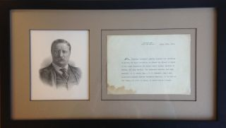 A Typed Letter, Unsigned, with a Holograph Addition. Theodore Roosevelt