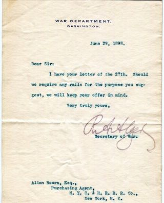 A Typed Letter, Signed. Russell Alexander Alger, United States Secretary of War.