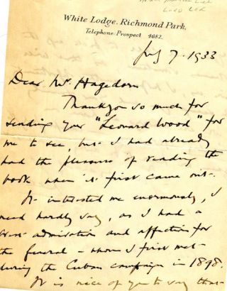 An Autographed Letter, Signed. Arthur Hamilton Lee, Lord Lee