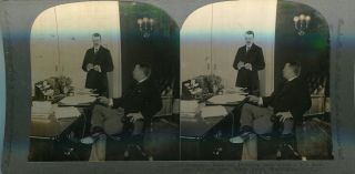 Stereo View Of President Roosevelt Dictating Instructions To His Secretary William Loeb, White...