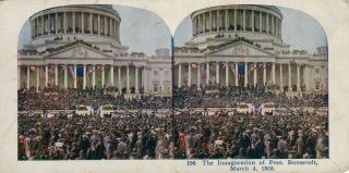 Stereo View In Color Of The Inauguration Of President Roosevelt March 4, 1905. Theodore Roosevelt