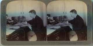 Stereo View Of President Roosevelt Signing Bills, White House, Washington D.C. Theodore Roosevelt