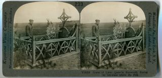 Stereo View Grave Of Lt. Quentin Roosevelt Buried By Germans Where He Fell. Theodore Roosevelt