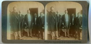 Stereo View Working For Peace - President Roosevelt And Envoys Of Mikado And Czar On The...