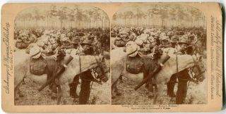 "Stereo View Troop ""H"" Captain Curry ""Rough Riders"". Theodore Roosevelt"