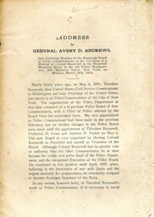 An Address. General Avery D. Andrews
