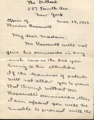 Autographed Letter, Signed. Theodore Roosevelt, in the person of Frank Harper