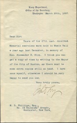 "John D. Long, Secretary of the Navy, Typed Letter, Signed, (Tls) one page, (Approx. 8.75"" x..."