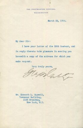 George B. Cortelyou as the Postmaster General, Typed Letter, Signed, (Tls) one page, (Approx....