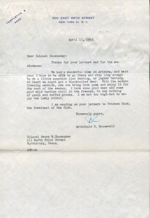 Roosevelt, Archibald. Typed Letter Signed, April 12, 1956. One page to Colonel Henry W....