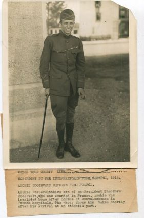 Original Wire Service News Photograph, Archibald Roosevelt, Returns From France, 1918. Archibald, Archie Roosevelt.