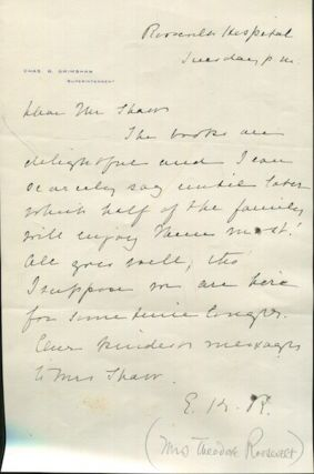 Autographed Letter, Signed. Edith Kermit Roosevelt