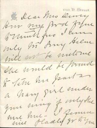 Autographed Letter, Signed, To Mrs. George Dewey. Anna Roosevelt Cowles, e, Bamie