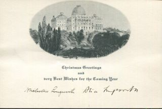 Christmas Card with printed greeting, c1925, Signed by Alice Roosevelt. Nicholas Longworth, Alice...