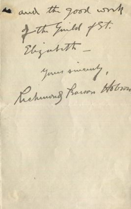 Richard Pearson Hobson, (Als) Autographed letter, signed. Richard Pearson Hobson